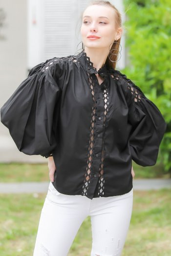 Neckline and ruched shoulders, balloon sleeve shirts