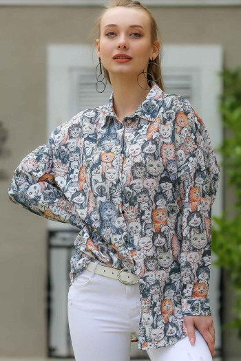 Cats patterned oversize shirt