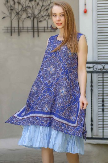 Vintage mandala patterned sleeveless dress cheesecloth
