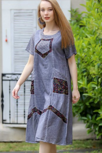 Arm zigzag lace and cheesecloth-lined pockets bohemian detail dress fabric wash