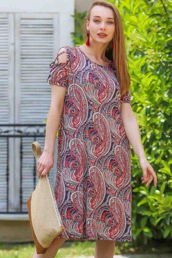 Retro paisley dress shoulders piping