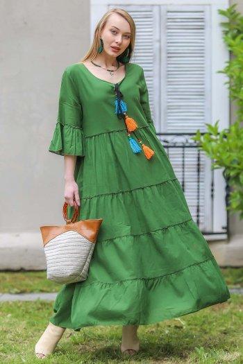Vintage oversize handmade mix color tassel detail dress