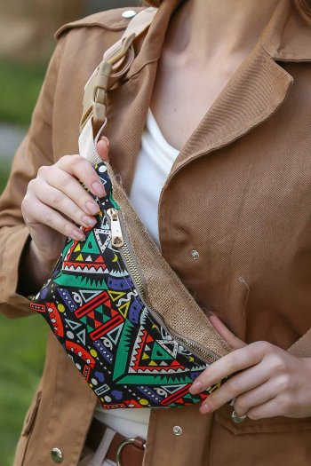 Retro tribal patterned sack vegan and detailed waist bag