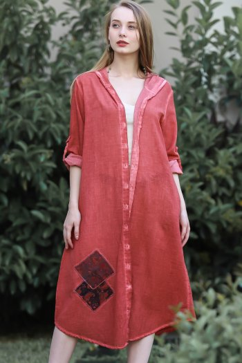 Bohemian gauze patch detailed buttoned hooded robe wash
