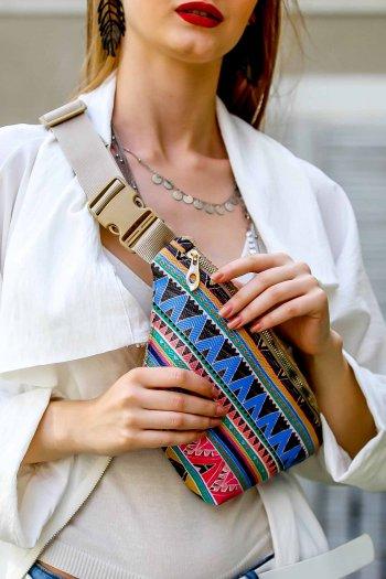 Retro tribal desenli vegan ve çuval detaylı bel çantası