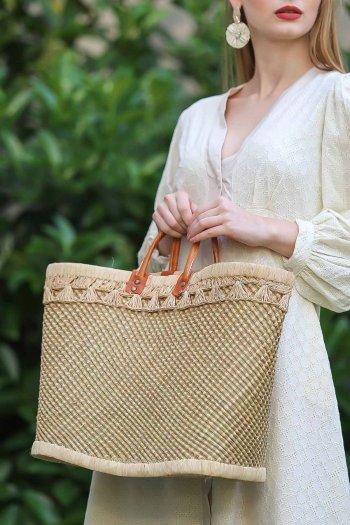 Vintage natürel örgü torba astarlı hasır çanta