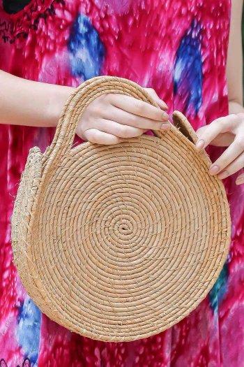 Vintage astarlı hasır yuvarlak el çantası