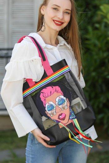 Retro transparan kadın aplikeli omuz çantası