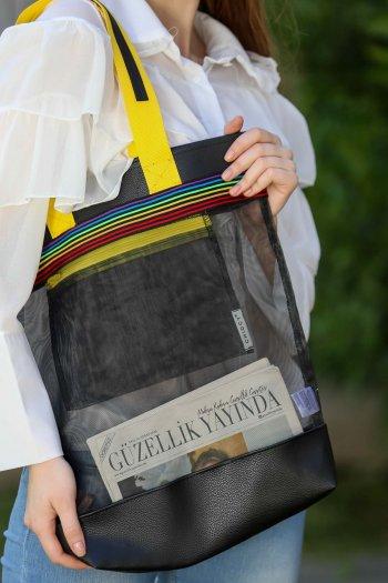 Retro transparan şeritli omuz çantası