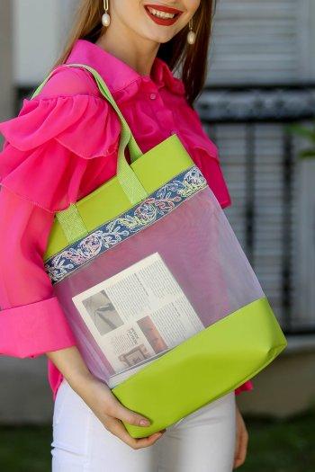 Retro transparan jean şeritli omuz çantası