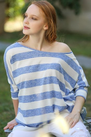 Casual striped oversize bat sleeve blouse