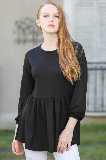 Gathered Waist Peplum Blouse with tie back detail