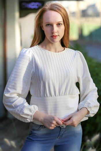 Retro striped balloon waist bodice blouse arm