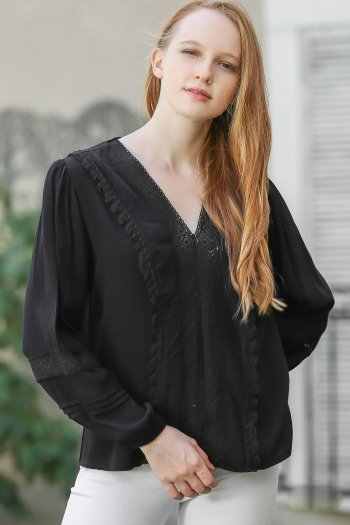 Pleated sleeves and lace detailed blouse