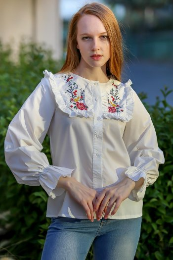 Retro roses embroidered collar blouse pleated ruffle detail arm