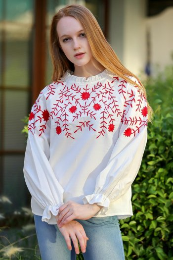 Vintage floral embroidered sleeves pleated blouse yoke star