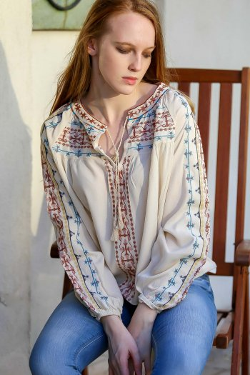 Retro detailed cross-stitch embroidery detail blouse balloon connecting arm