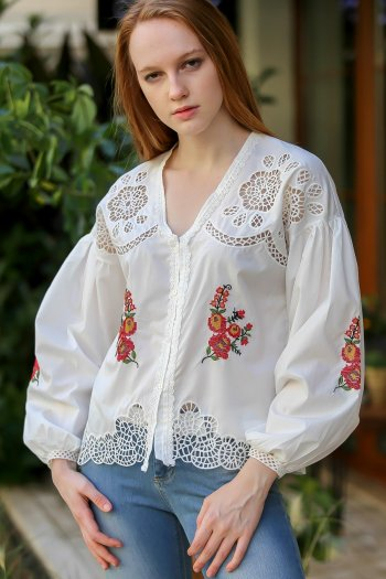 Vintage shoulder and hem embroidered cross-stitch job openings balloon sleeve blouse