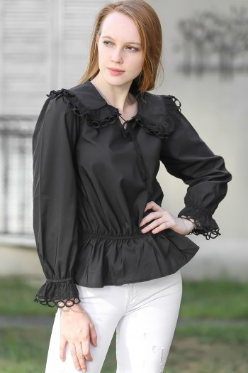 Retro giant baby lace collar and sleeves and shirred waist frilled blouse with eyelet detail