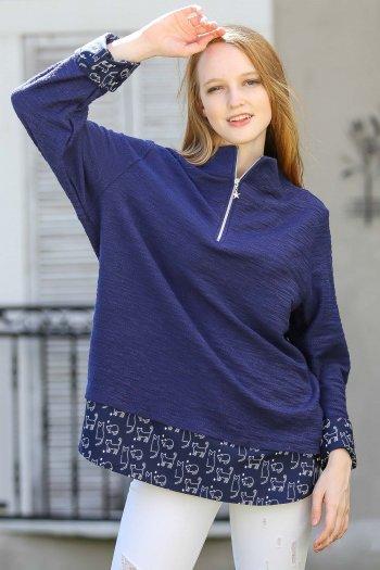 Casual kittens zippered woven blouse block