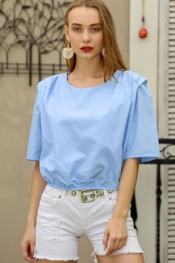 Retro shoulder blouse elastic waist pleated detail wadding