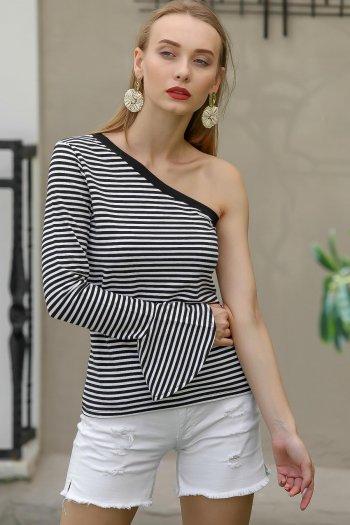 One shoulder flute sleeve striped blouse
