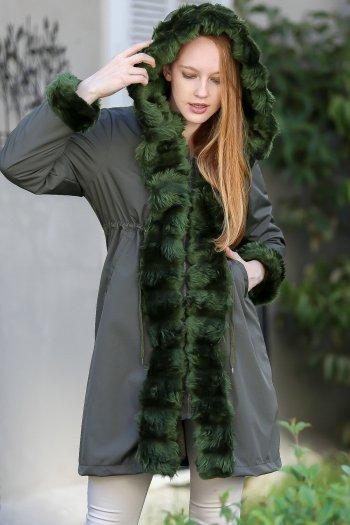Retro vegan fur detailed waist ruffles detailed interior lining pockets waterproof fabric jacket