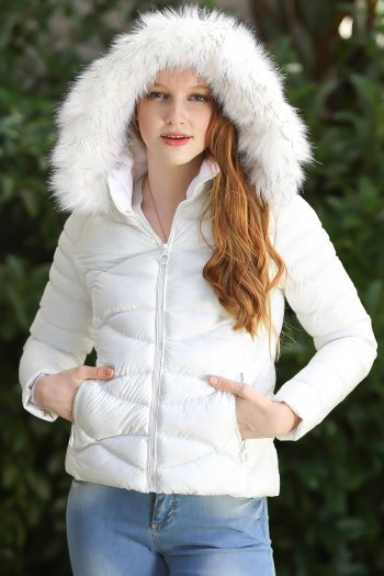 Casual vegan fur hooded zippered pockets stitched detail spring mounted inflatable