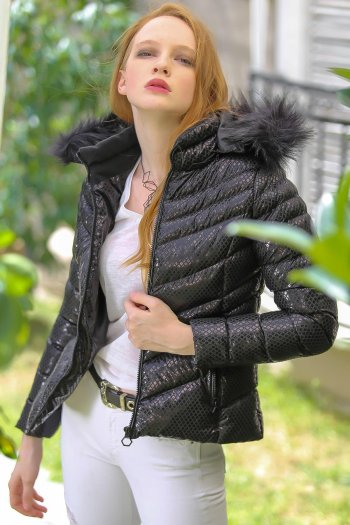 Casual vegan V-stitched detail fur hooded zippered pockets mounted inflatable