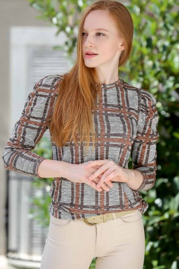Casual plaid pattern blouse with stitched smocking sleeves